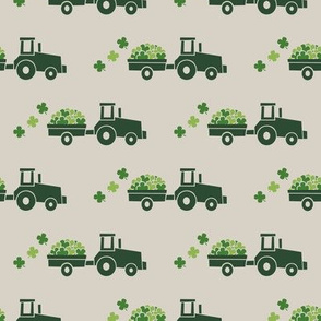 Tractors with Shamrocks (beige) - St Patrick's day  Clovers
