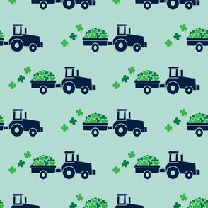 Tractors with Shamrocks (dark mint) - St Patrick's day  Clovers