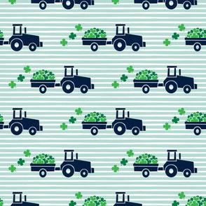 Tractors with Shamrocks (dark mint stripes) - St Patrick's day  Clovers