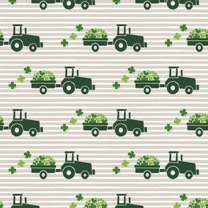 Tractors with Shamrocks (beige stripes) - St Patrick's day  Clovers