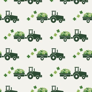Tractors with Shamrocks (cream) - St Patrick's day  Clovers