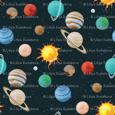 Space fabric with planet images on universe background