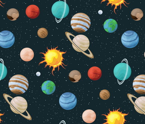 Space fabric with planet images on universe background fabric by liliya_sudakova on Spoonflower - custom fabric