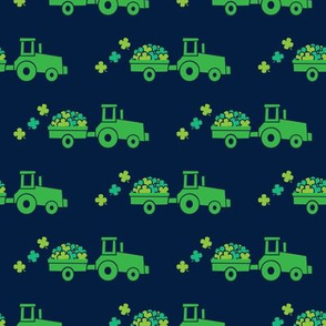 Tractors with Shamrocks (navy) - St Patrick's day  Clovers