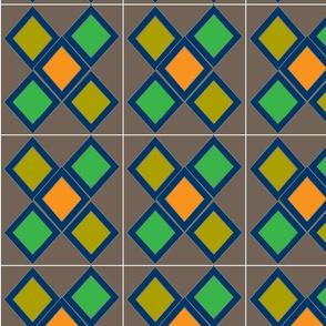 A nice piece with green,yellow & orange diamond with dark brown background