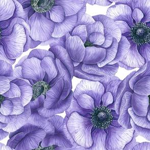 Violet anemone flowers watercolor pattern