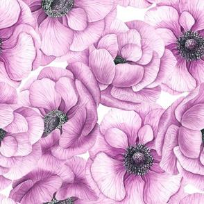 Anemone flowers watercolor pattern