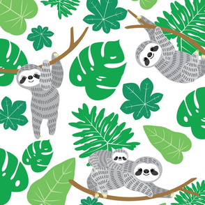 Sloth and tropical leaves1