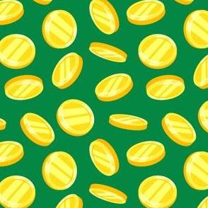 gold coins - green