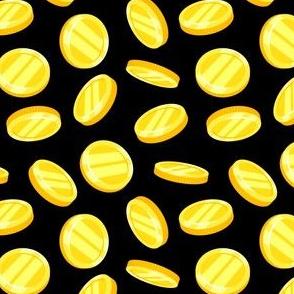 gold coins - black