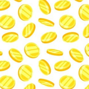 gold coins - white