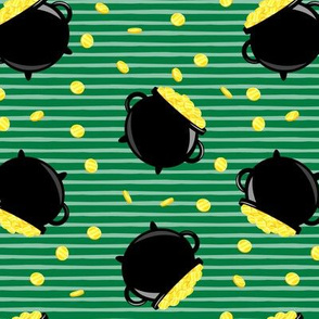 pot of gold - toss with coins - black on green stripes