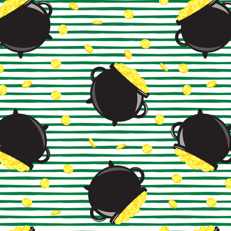 pot of gold - toss with coins - black on green stripes fabric by littlearrowdesign on Spoonflower - custom fabric