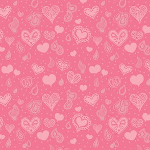 Paisley Heart Repeat in Soft Pink and Grey
