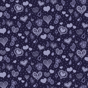 Paisley Heart Repeat in Midnight Blue