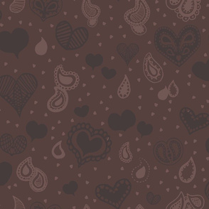 Blue and Brown Paisley Heart Repeat