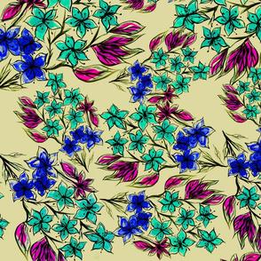 ramo flor azul con acuarela