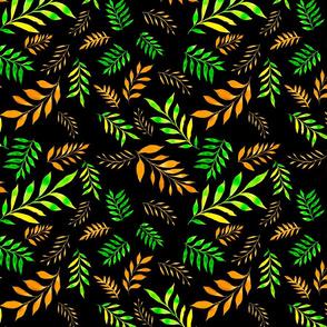 hojas verdes pintadas con acuarela