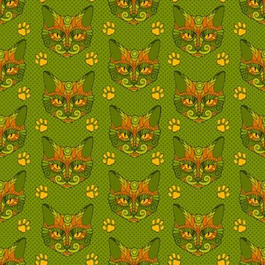 Cat Doodle with Paw Prints in Green & Orange