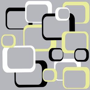 Retro Squares Pattern Yellow Black White Gray
