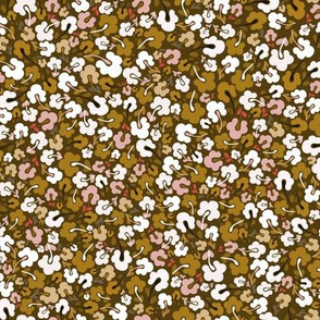 Scandi Flowers - Ditsy Coordinate - Mustard and Pink