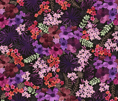 Les Petites Fleurs – Dark fabric by caroline_wilkie_studio on Spoonflower - custom fabric