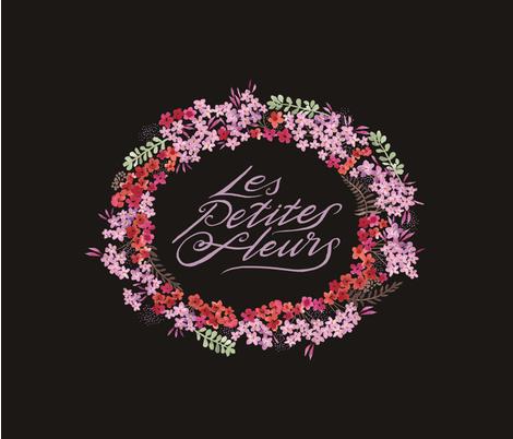 Les Petites Fleurs Wreath – Dark fabric by caroline_wilkie_studio on Spoonflower - custom fabric