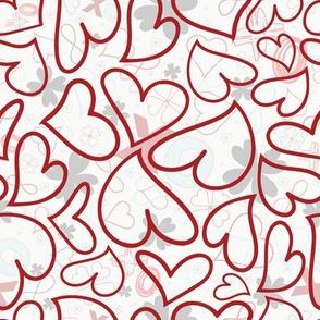 Swoon Hearts - XsOs_DkRedWithPatternBG_HandDrawnHearts_seaml_Stock