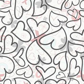 Swoon Hearts - XsOs_GrayWithPatternBG_HandDrawnHearts_seaml_Stock