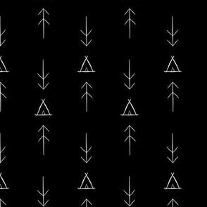 Inky Tipi & Arrows  Black Background