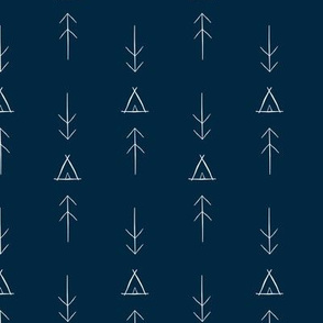 Inky Tipi & Arrows Navy Background