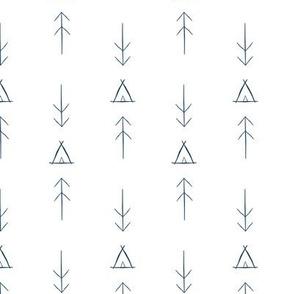 Inky Tipi & Arrows in Navy