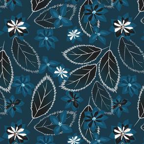Flowers on blue.