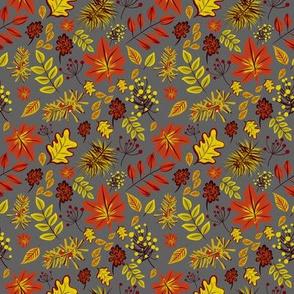 autumn leaves on grey