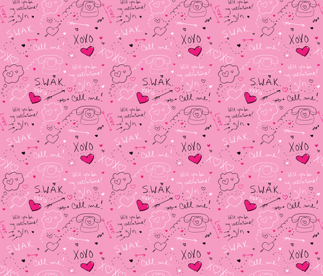 Valentine's Doodles  fabric by jayhutch on Spoonflower - custom fabric