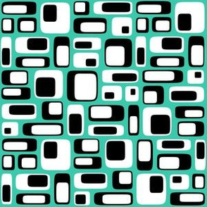 70s squares black teal
