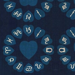 Zodiac Love on Blue Denim