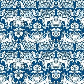 I Love Craft (Cthulhu Damask in Classic Blue)