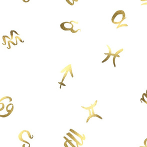 Astrology Symbols - Gold on White