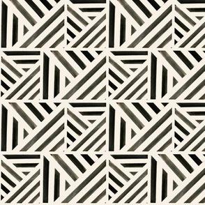 Watercolor Stripe Black Geo S