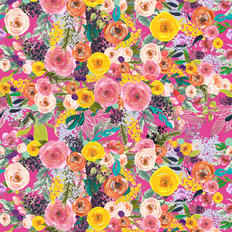 Autumn Blooms // Hot Pink (Tiny Size) fabric by theartwerks on Spoonflower - custom fabric