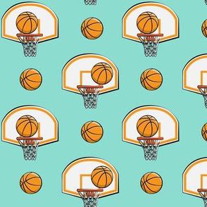 Basketball & Hoops - Dark Aqua - Sports Themed