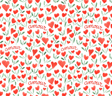 Fleurs de coeur d'amour fabric by charlotte_lorge on Spoonflower - custom fabric