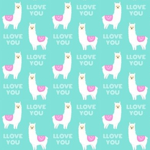 SMALL - llove llama valentines day fabric - love llama fabric, valentines day fabric, cute girls valentines day design -  candy mint