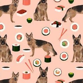 german shepherd dog sushi fabric - dog fabric, german shepherd fabric, sushi fabric, cute dogs and sushi fabric, dog lover fabric -  peach