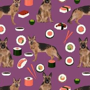 german shepherd dog sushi fabric - dog fabric, german shepherd fabric, sushi fabric, cute dogs and sushi fabric, dog lover fabric -  purple