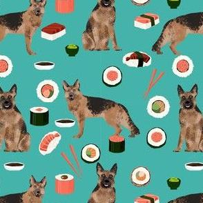 german shepherd dog sushi fabric - dog fabric, german shepherd fabric, sushi fabric, cute dogs and sushi fabric, dog lover fabric - teal