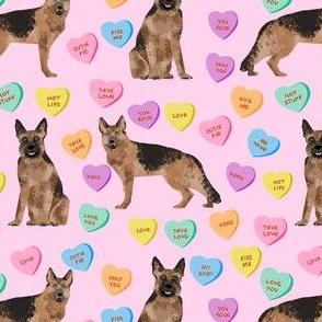 german shepherd dog fabric - german shepherd candy hearts fabric, german shepherd valentines day fabric, valentines day dog fabric, cute pastel hearts -  pink
