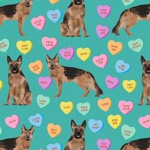 german shepherd dog fabric - german shepherd candy hearts fabric, german shepherd valentines day fabric, valentines day dog fabric, cute pastel hearts - teal