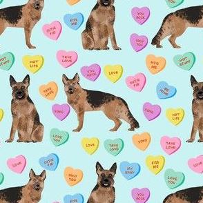 german shepherd dog fabric - german shepherd candy hearts fabric, german shepherd valentines day fabric, valentines day dog fabric, cute pastel hearts - light blue